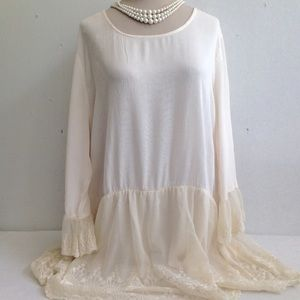 NWT Embroidered Lace Tier Crinkle Boho Tunic Dress